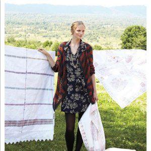 Anthropologie Maeve Silk Winter Tree Shirt Dress